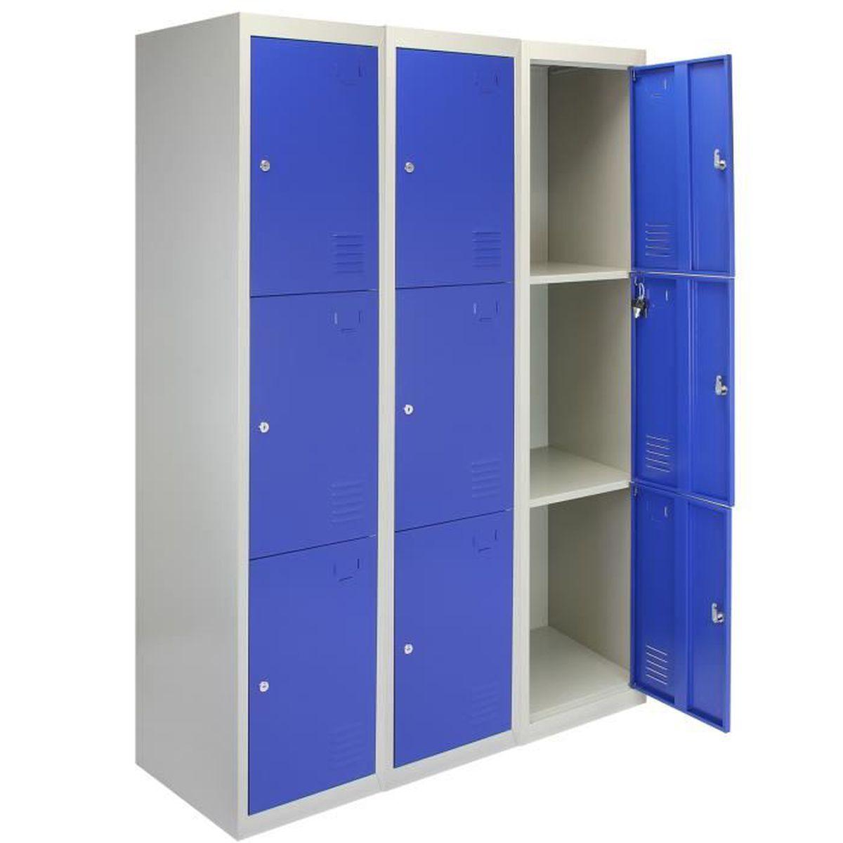 Casier 3 Portes Metal Rangement Acier Salle De Sport Verrouillable Bleu Gris Achat Vente Bac De Rangement Outils Casier 3 Portes Metal Range Cdiscount