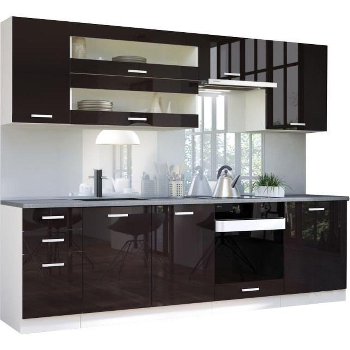 Meuble Bas De Cuisine Noir Laqué ensemble cuisine complète ultra moderne 260 cm coloris blanc