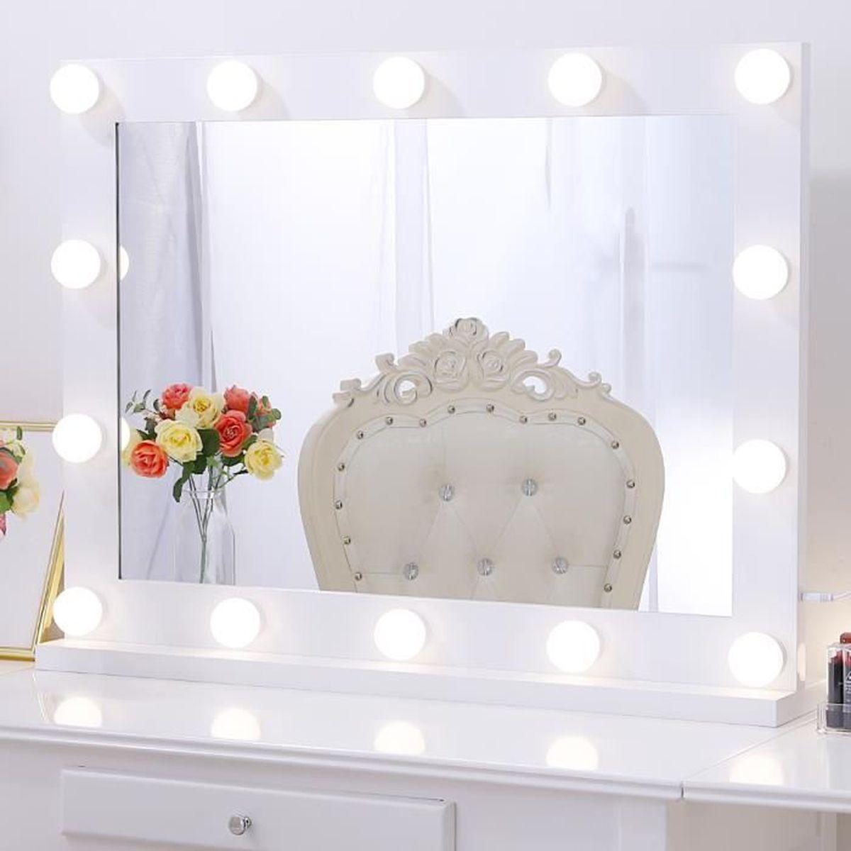 80cmx60cm sans Cadre Miroir Ampoule Th/é/âtre de Professionnel Chende Miroir Hollywood Coiffeuse pour Montage Mural Grand Miroir Maquillage Lumineux avec Conversion en 3 Couleurs