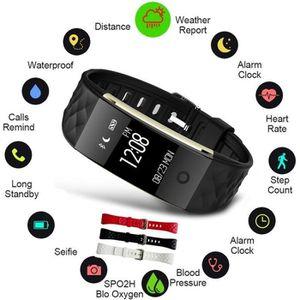 MONTRE CONNECTÉE Noir Bluetooth intelligente bande Wristband Monite