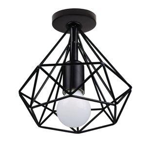 PLAFONNIER 20*20CM Plafonnier Cage Diamant Noir en Metal E27
