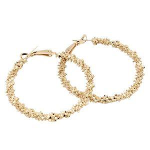 À Rayures en Relief 23k Gold Filled Dangle Anneaux CALIN Femmes Dame Boucles d/'oreilles Créoles Box