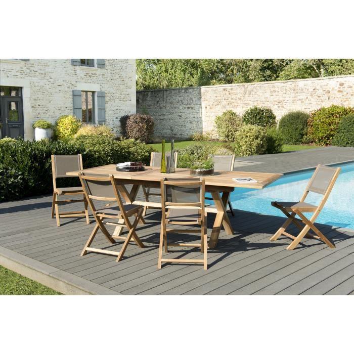 Ensemble de jardin en teck : 1 table rectangulaire, pieds croisés, extensible 180 / 240 x 100 cm - 3 lots de 2 chaises pliantes JARD