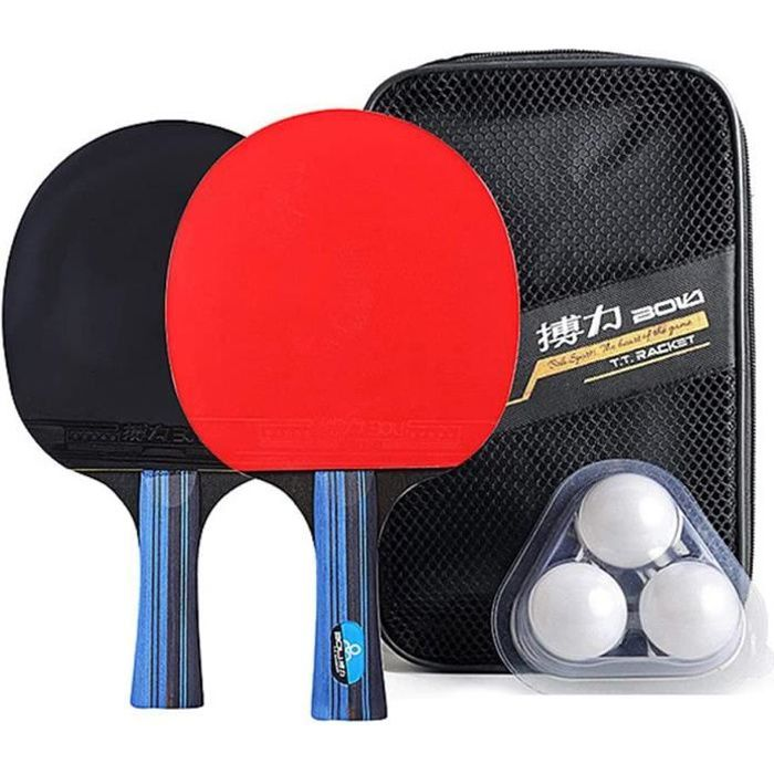 Raquette de Ping Pong Professionnel Set, 2 Raquette de Tennis de Table + 3 Balles de Ping-Pong+ Sac(Horizontal shot / long handle)