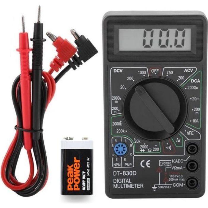 Multimètre Voltmètre Ampèremètre Testeur Electrique digital écran LCD + Pile