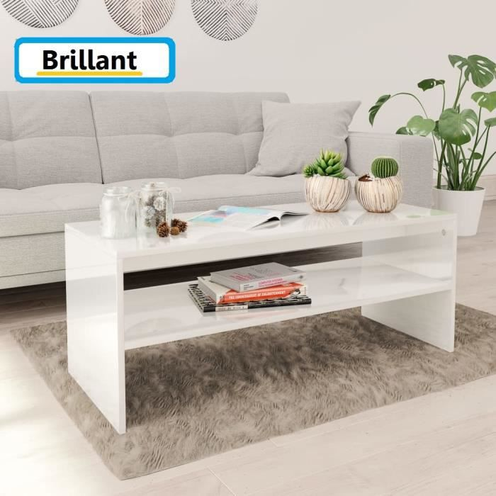 Table Basse De Salon Laquée 100x40cm Blanc Brillant(aggloméré) Design Rectangle