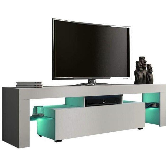 Meuble tv 160 cm blanc mat avec led RGB