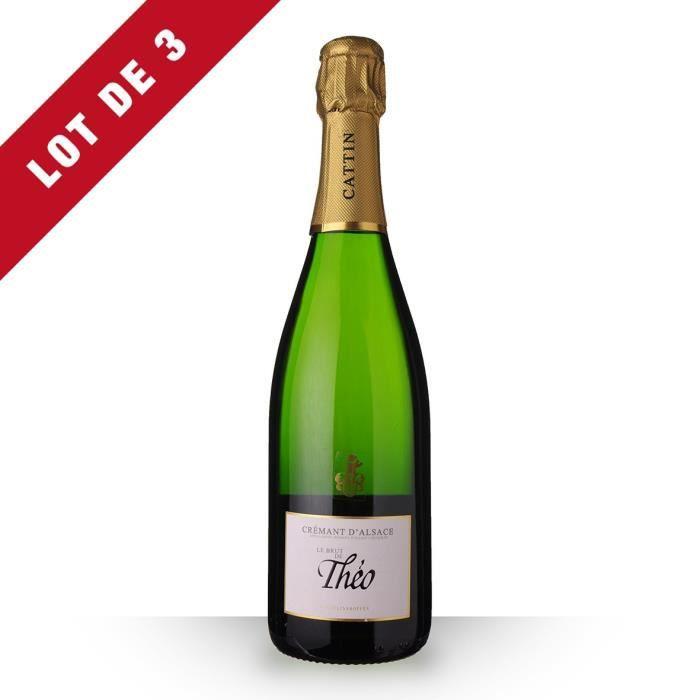 3X Le Brut de Théo Brut 75cl AOC Crémant d'Alsace - Vin Blanc