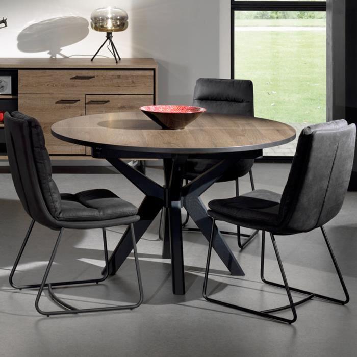 Table ronde extensible 130 cm couleur chêne foncé ESTELLE Marron L 180 x P 130 x H 78 cm
