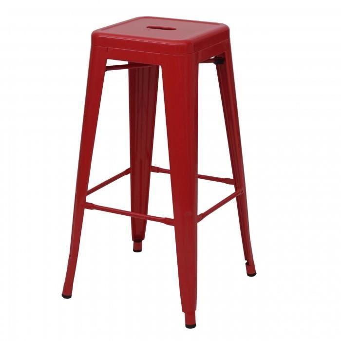4x tabouret de bar HWC-A73, chaise de comptoir, metal, empilable, design industriel rouge