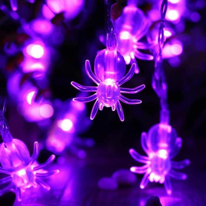 Araignées Decoration Halloween, Guirlande Lumineuse en Forme de Araignées Pourpre 2.9M 20 LED, Guirlande Extérieur pour Party
