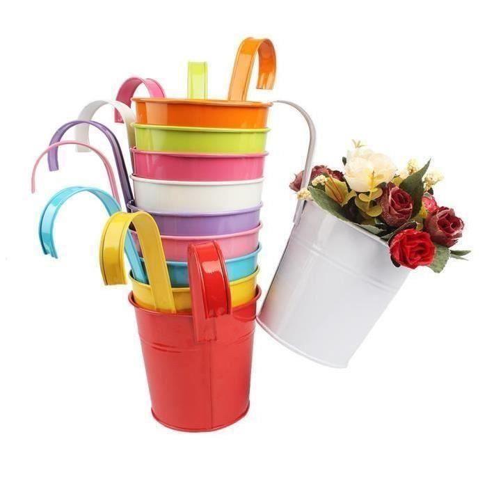 10pcs Pots de Fleurs avec poignée amovible Pot Plante Suspendu 10 Couleurs Pots Fleur Métal Fer Balcon Jardin Maison Décoration