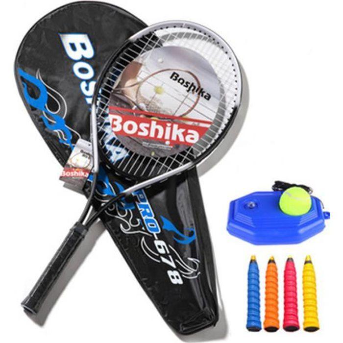 Raquette de tennis légère en alliage d'aluminium antichoc avec entraîneur, pratique de divertissement pour jeunes et adultes
