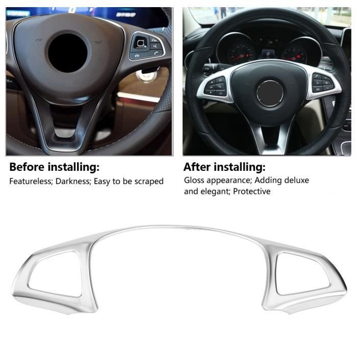 YOSOO Garniture de volant Autocollant décoratif de garniture de cadre de volant de voiture pour Mercedes Benz E W213 C W205 GLC