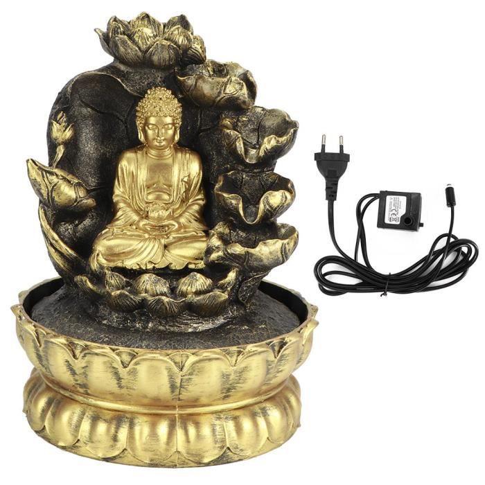 ESTINK Ornement de fontaine d'eau Statue de Bouddha LED Innovante Ornement de Table de Fontaine de Cascade avec Pompe à Eau pour