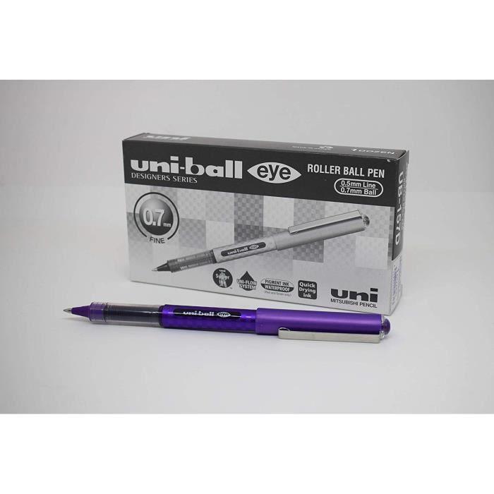 uni-ball 167486000 Eye Designer UB-157D Paquet de 12 Stylos roller fins encre Super Ink pointe 0,7 mm Violet