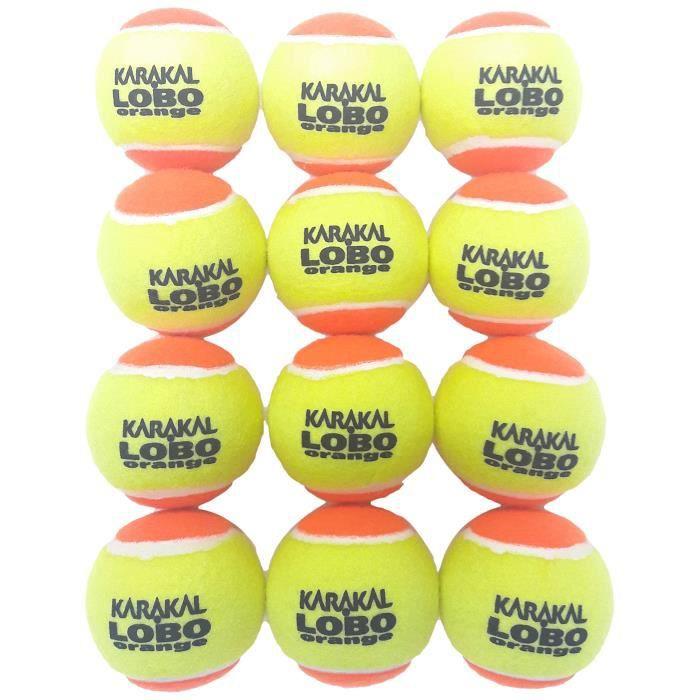 Karakal Unisexe Lobo Balles de Tennis de Faible Compression, Sac DE 12, Vert-Orange