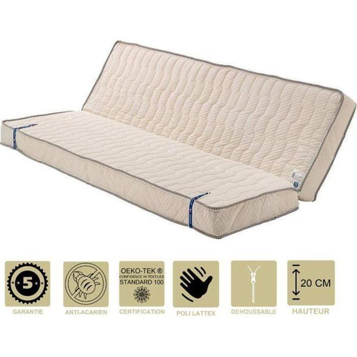 Literie -Matelas Très Ferme Pour Clic Clac 130x190 x 20 cm - Dim Assise 60 cm - 5 zones de Confort - Déhoussable Housse Lavable - N
