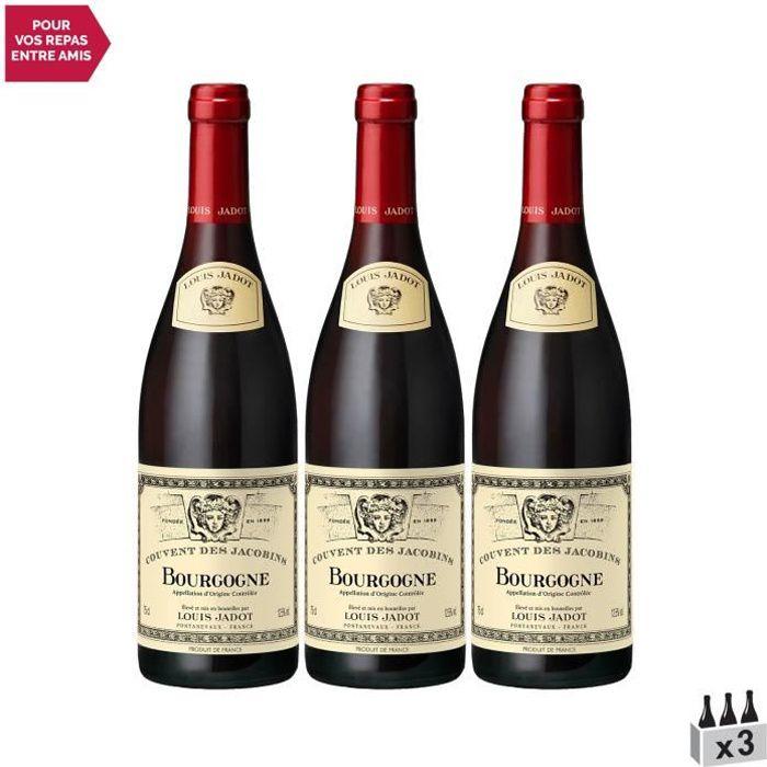 Bourgogne Couvent des Jacobins Rouge 2019 - Lot de 3x75cl - Louis Jadot - Vin AOC Rouge de Bourgogne - Cépage Pinot Noir