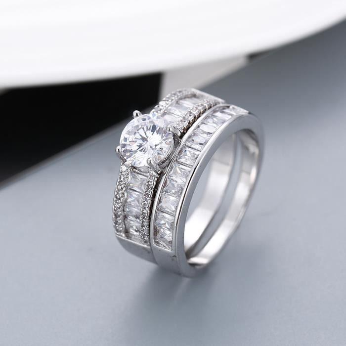 Set Mariages Anneau femme 1.5ct Lab diamant Bague or blanc 18 carats Rempli emsembles de Bijoux Weddings Taille 7