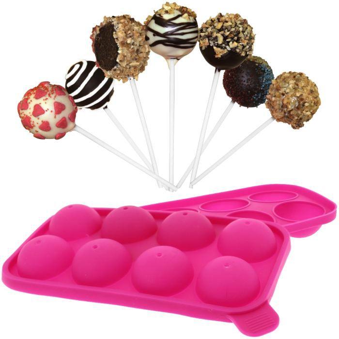 Moule Pop Cakes Sucettes Fantaisie en silicone + 8