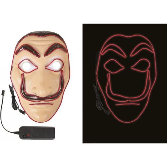 Masque Visage - Accessoire Deguisement Visage - Masque Casa de papel lumineux LED