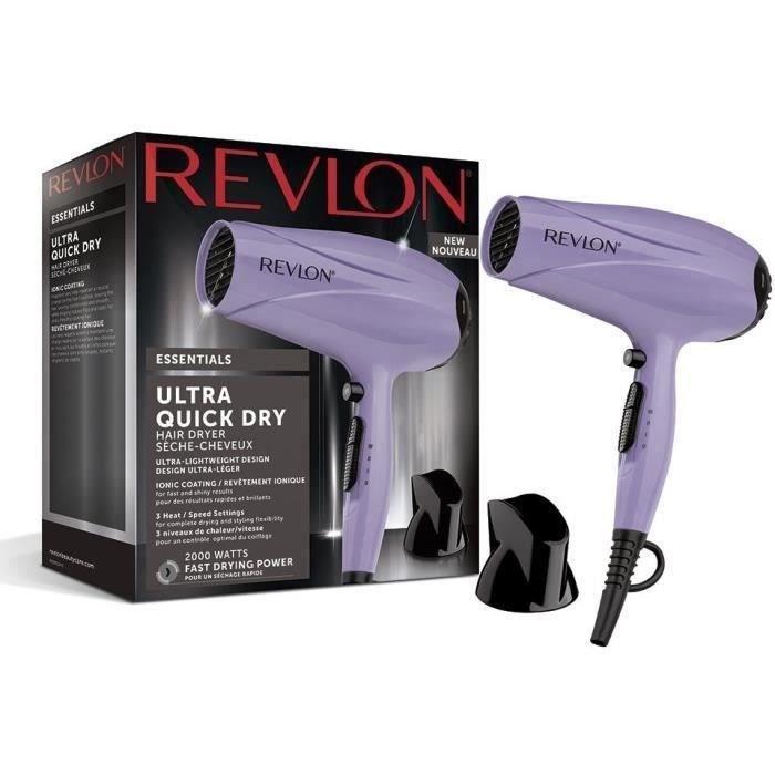 Sèche-cheveux REVLON Ultra Quick Dry - 3 vitesses - 2000W - Revêtement ionique - Touche air froid - Embout amovible - Violet