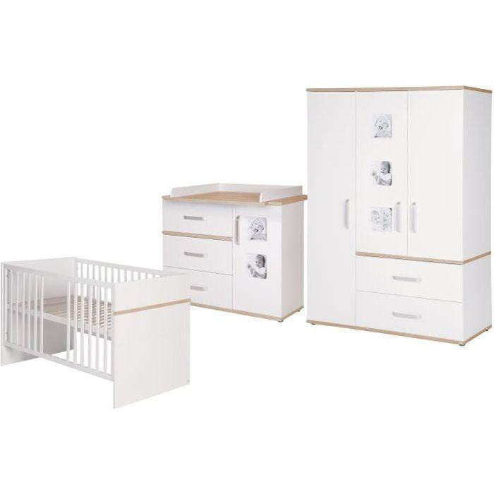 ROBA Ensemble de meubles bébé -Pia- 3 pièces, lit bébé 70x140 cm + commode à langer + armoire, blanc