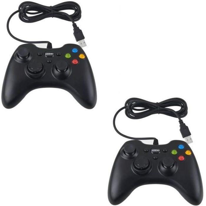 2 X Manette Xbox 360 contrôleur pour Pc Mac Noir 1,70 m