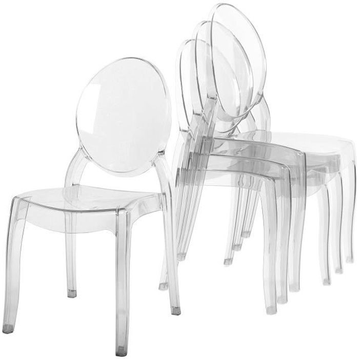lot de 4 chaises transparent en plexi ronda achat vente chaise blanc cdiscount. Black Bedroom Furniture Sets. Home Design Ideas
