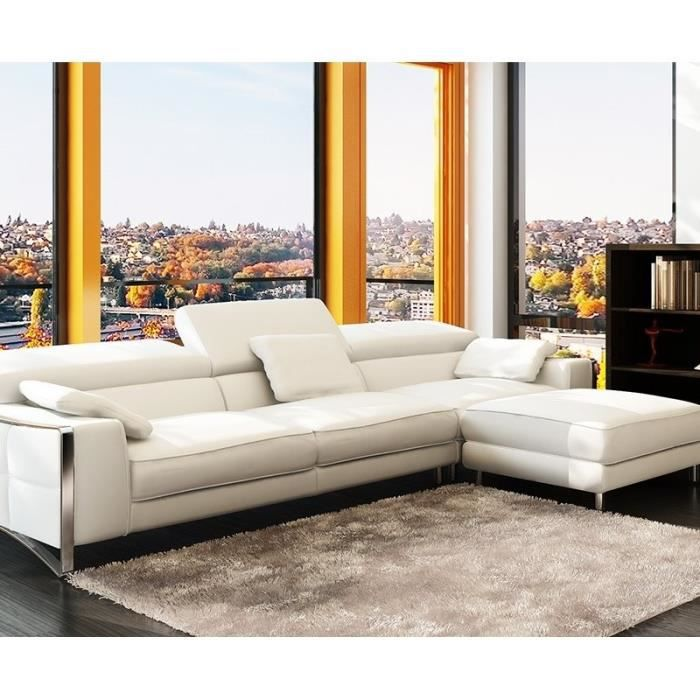 canap d 39 angle cuir blanc design pieds chrom achat vente canap sofa divan cdiscount. Black Bedroom Furniture Sets. Home Design Ideas