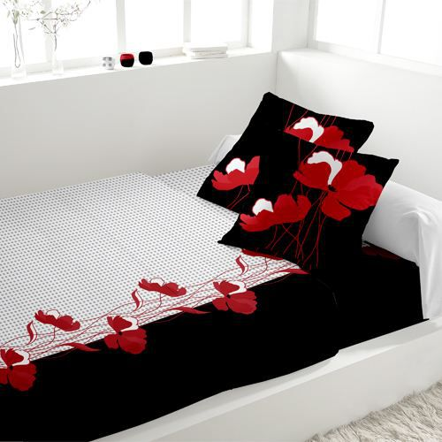 parure de lit 4 pieces flanelle pivoine rouge achat vente parure de lit cdiscount. Black Bedroom Furniture Sets. Home Design Ideas
