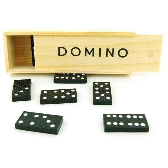 jeu de 28 dominos noirs boite en bois achat vente jeu soci t plateau jeu de 28 dominos. Black Bedroom Furniture Sets. Home Design Ideas