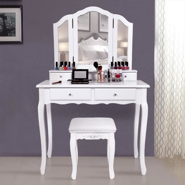 superbe grande coiffeuse table de maquillage style champ tre avec 3 miroir 4 tiroirs et 1. Black Bedroom Furniture Sets. Home Design Ideas