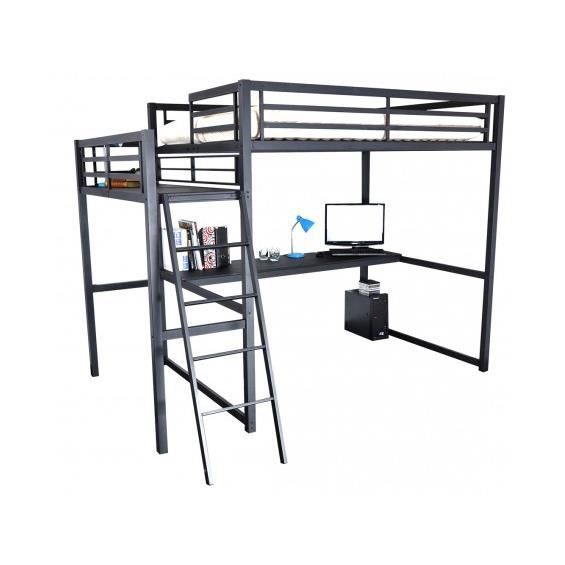 house lit mezzanine 140x190cm avec plateforme achat. Black Bedroom Furniture Sets. Home Design Ideas
