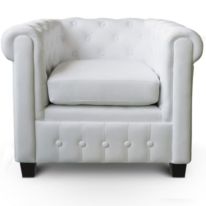 Fauteuil capitonn chesterfield wendell blanc achat vente fauteuil blanc - Fauteuil chesterfield blanc ...