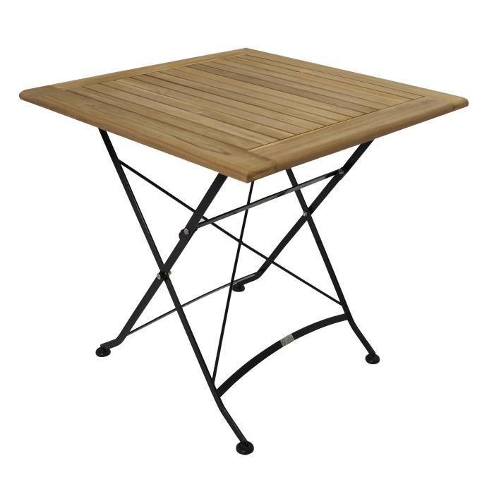 Table carré pliante salon de jardin 75x75cm acier plat noir ...