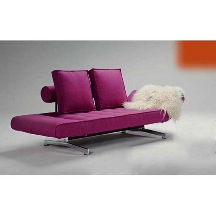 Canap lit design ghia fuchsia convertible 210 90 achat for Canape lit design