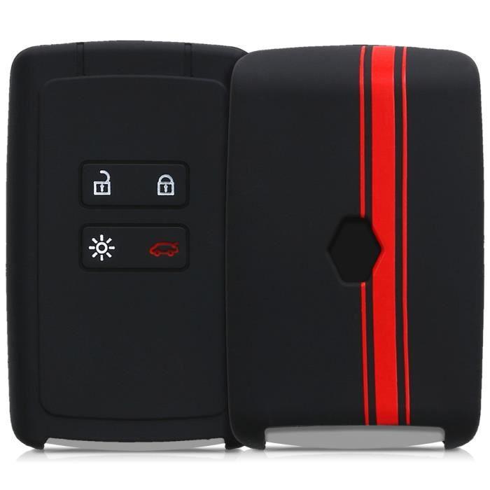 kwmobile Accessoire Clef de Voiture pour Renault Coque de Cl/é de Voiture en Nubuck pour Clef de Voiture Renault 4-Bouton Keyless Go Uniquement - Gris