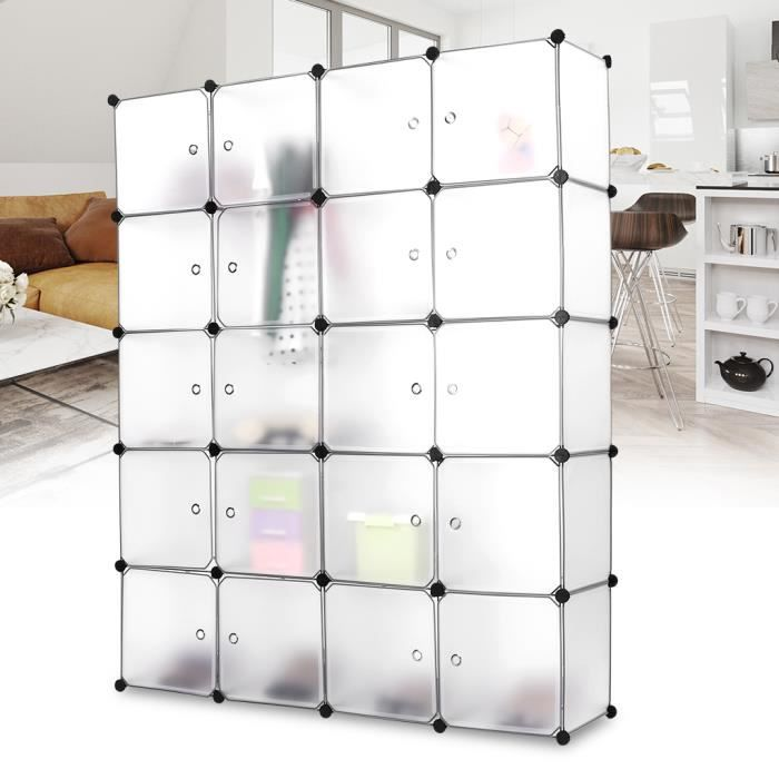 langria 20 cube penderie armoire storage modulable plastique meuble tag res de rangement diy. Black Bedroom Furniture Sets. Home Design Ideas