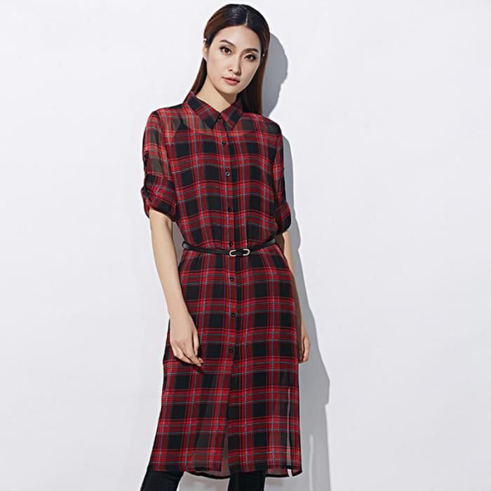 Blouse femme Plaid Casual manches longuesRouge