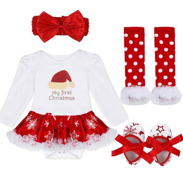 3 Pièces Nouveau Né Bébé Noël Fille Barboteuse Jupe Tutu Combinaison Costume