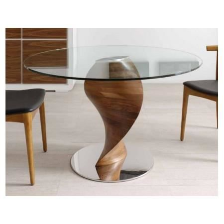 table repas ronde en bois noyer twister achat vente table a manger seule table repas ronde. Black Bedroom Furniture Sets. Home Design Ideas