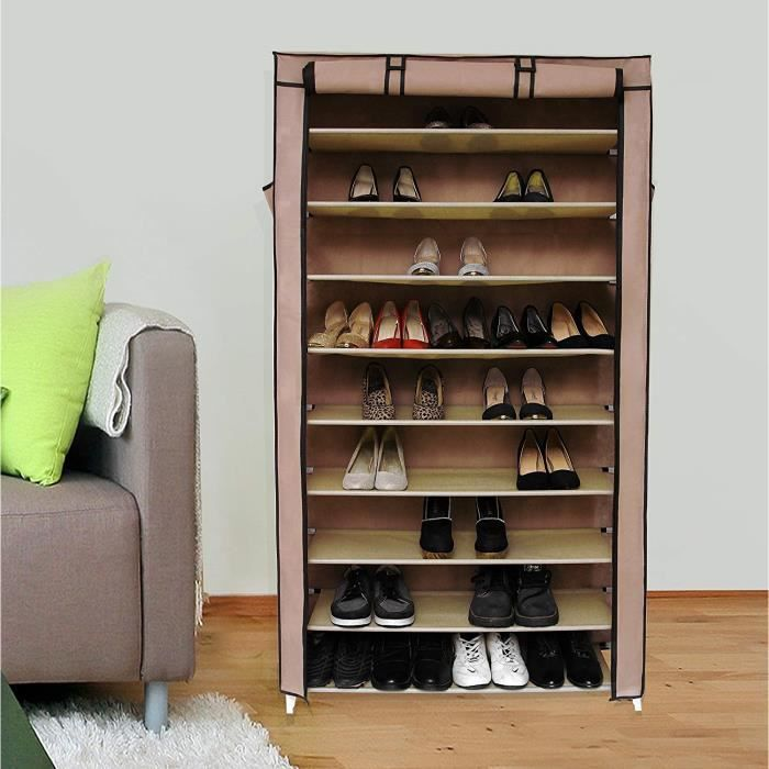 Songmics xxl armoire tag res chaussures 10 couches for Armoire chaussures