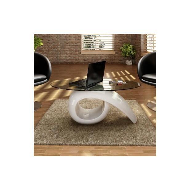 TABLE BASSE Superbe Table basse brillante blanche avec plateau