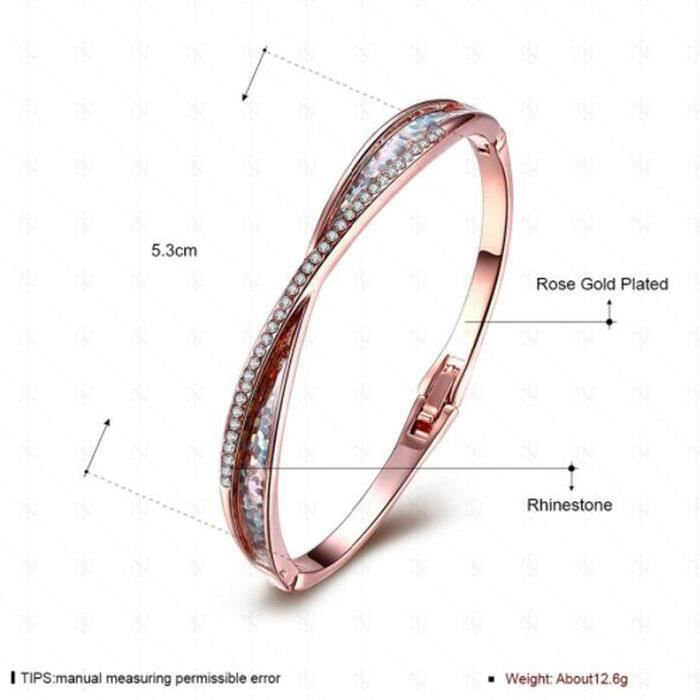 Bracelets Mode chaud bracelet en or rose diamant femmes