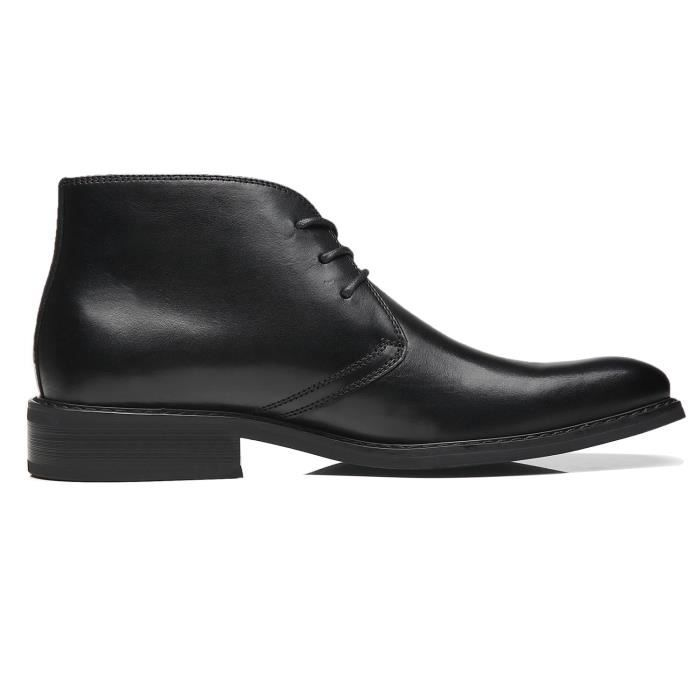 T313K Boots Leather Plain Taille Winter Casual Dress Men Modern 1 Classic Chukka Formal For Toe Ankle 2 Fashion Boots 44 Z7f1Aq