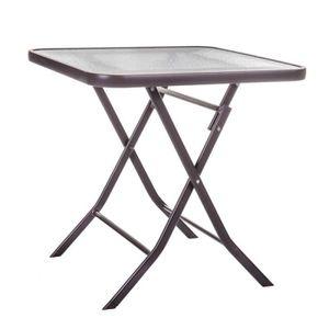 TABLE DE JARDIN  Table de jardin pliante carrée en acier marron et
