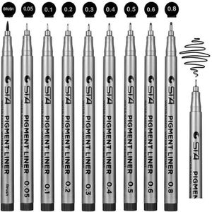 Stylo - Parure stylos noir a pointe fine,  Lot de 9 Stylos Feutre
