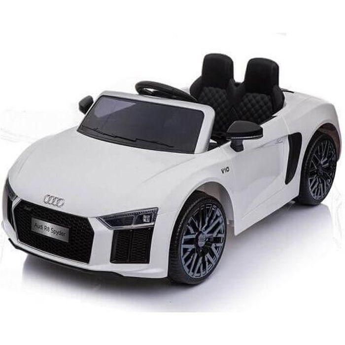 Audi R8 Spyder licence pour enfants et filles Blanc - Voiture électrique pour enfant avec batterie 12v et télécommande